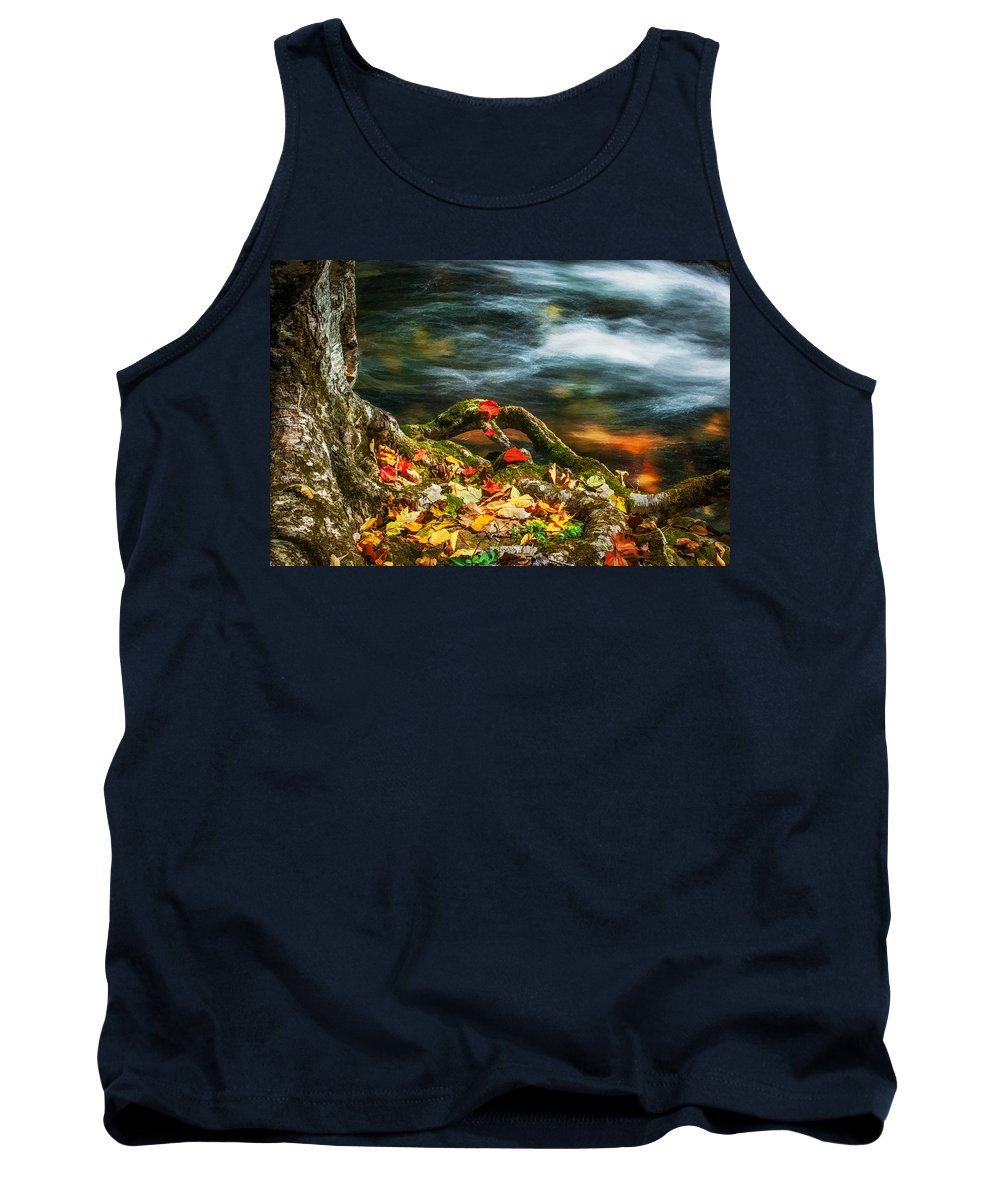 Stream Tank Top featuring the photograph Fall Colors Stream Great Smoky Mountains Painted by Rich Franco