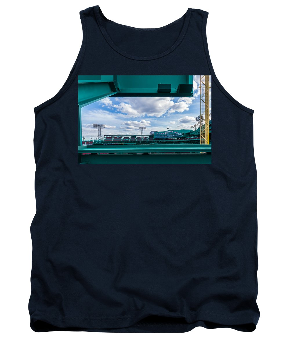 Baseball Red Sox Boston Fenway Park Green Monster Green Blue Yellow Foul Pole Fair Fisk Carlton Fisk Pole World Series Game 6 2013 1975 Clouds Sky Light Lights Yellow Green Blue Baseball Cardinals Win Championship Champion Sports Baseball Canvas Print Red Sox Boston History Historic Architecture Tank Top featuring the photograph Fenway Park From The Green Monster by Tom Gort