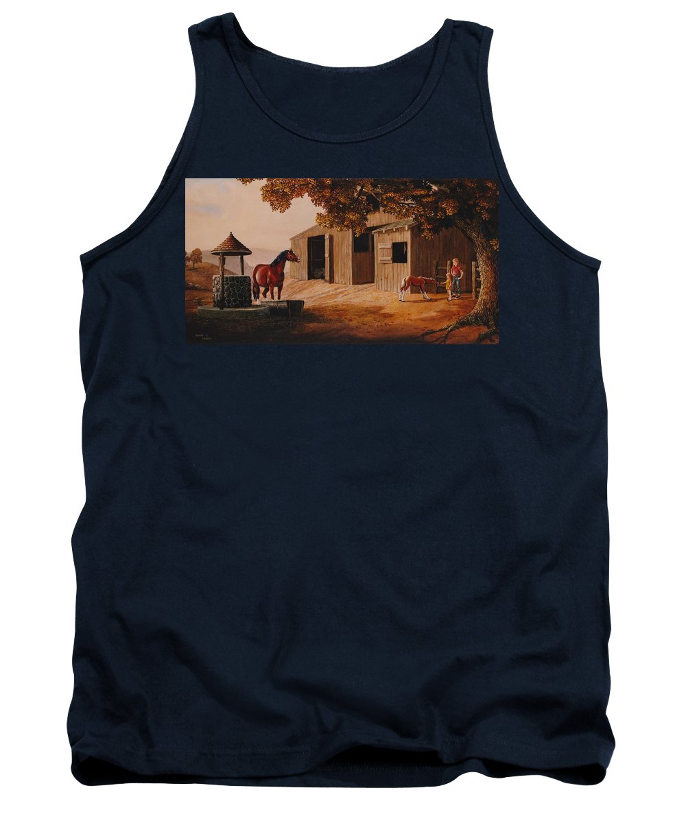 Farm Tank Top featuring the painting First Meeting by Duane R Probus