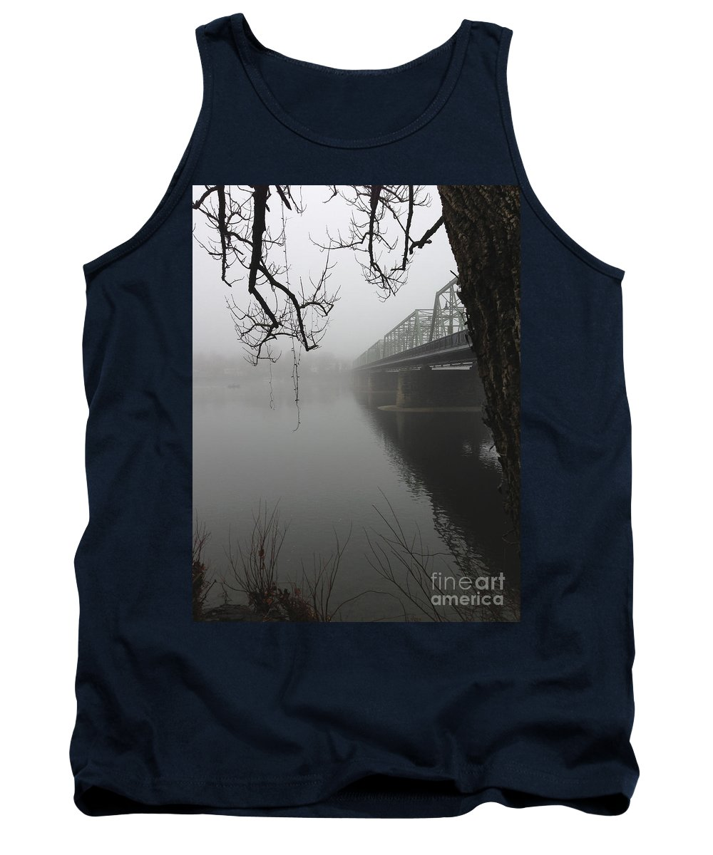 Boats Tank Top featuring the photograph Foggy Morning In Paradise - The Bridge by Christopher Plummer