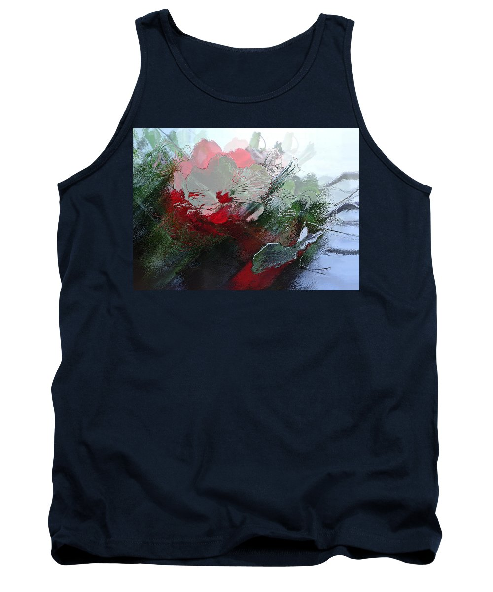 Floral Explosion Tank Top featuring the digital art Frosted Hibiscus 2 by Patricia Keith