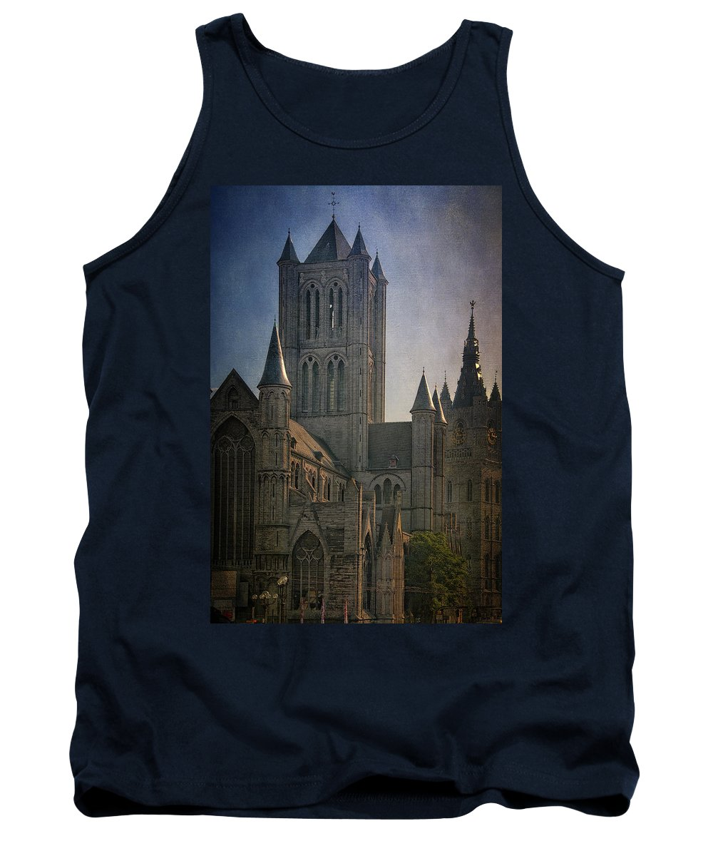 Joan Carroll Tank Top featuring the photograph Ghent Skyline by Joan Carroll