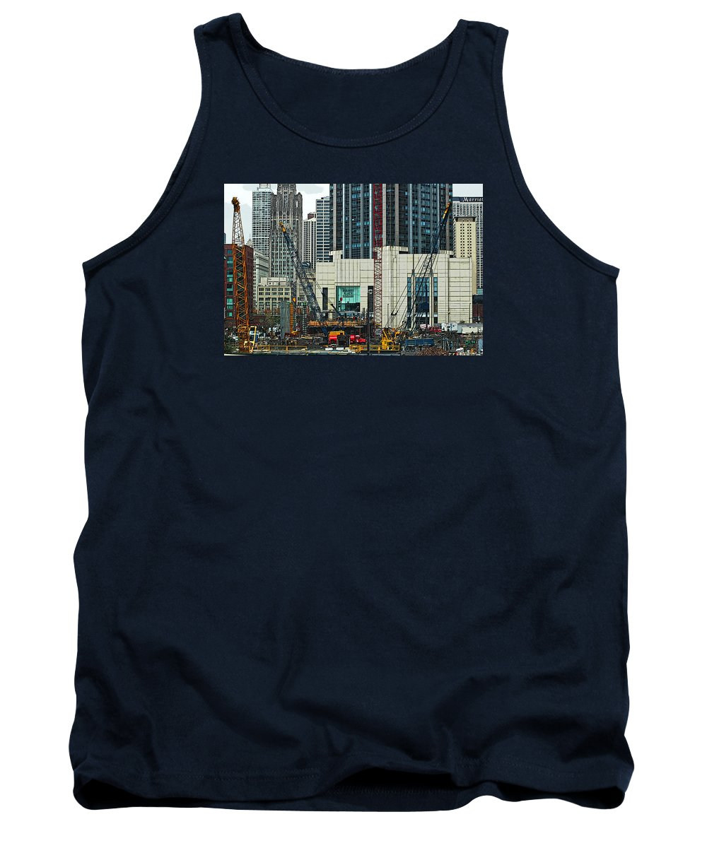 Chicago Tank Top featuring the photograph Downtown Chicago High Rise Construction Site by Ginger Wakem