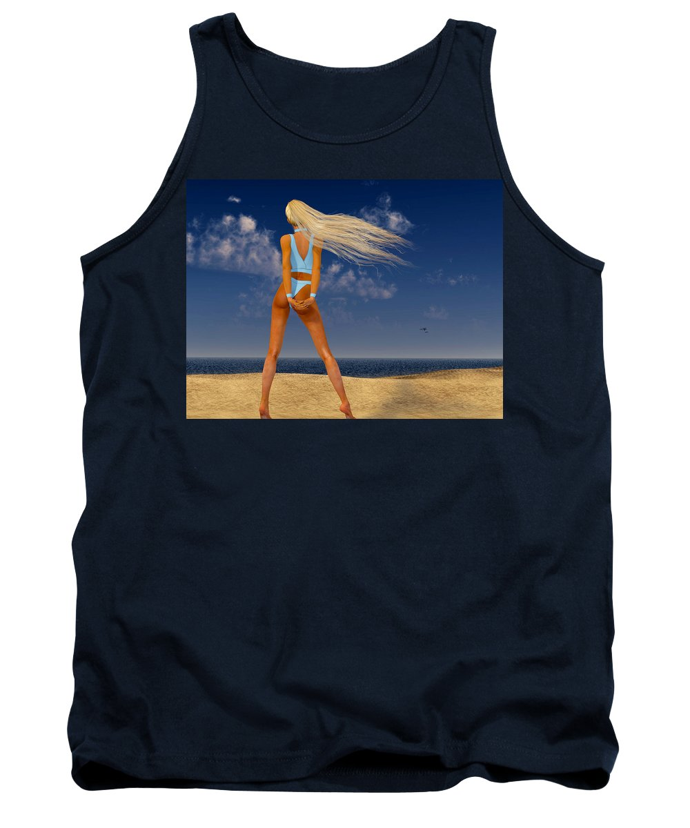 Portrait Tank Top featuring the digital art Girl On The Beach... by Tim Fillingim