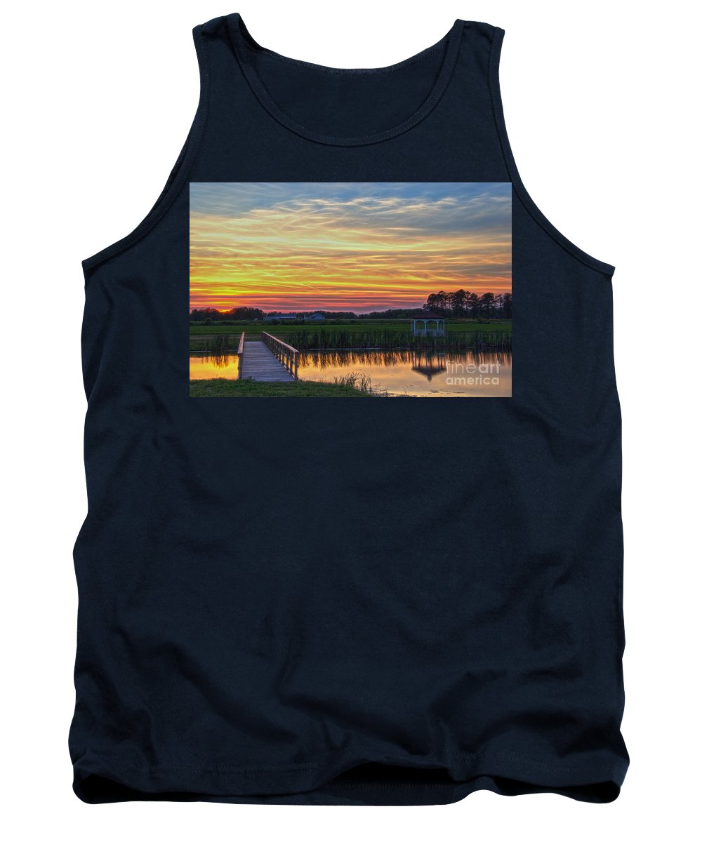 Nature Tank Top featuring the photograph Glowing East Coast Sunset by Tom Gari Gallery-Three-Photography