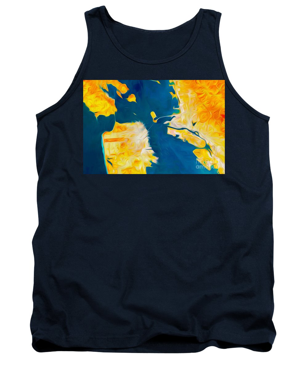 San Francisco Tank Top featuring the digital art Golden San Francisco by Phill Petrovic
