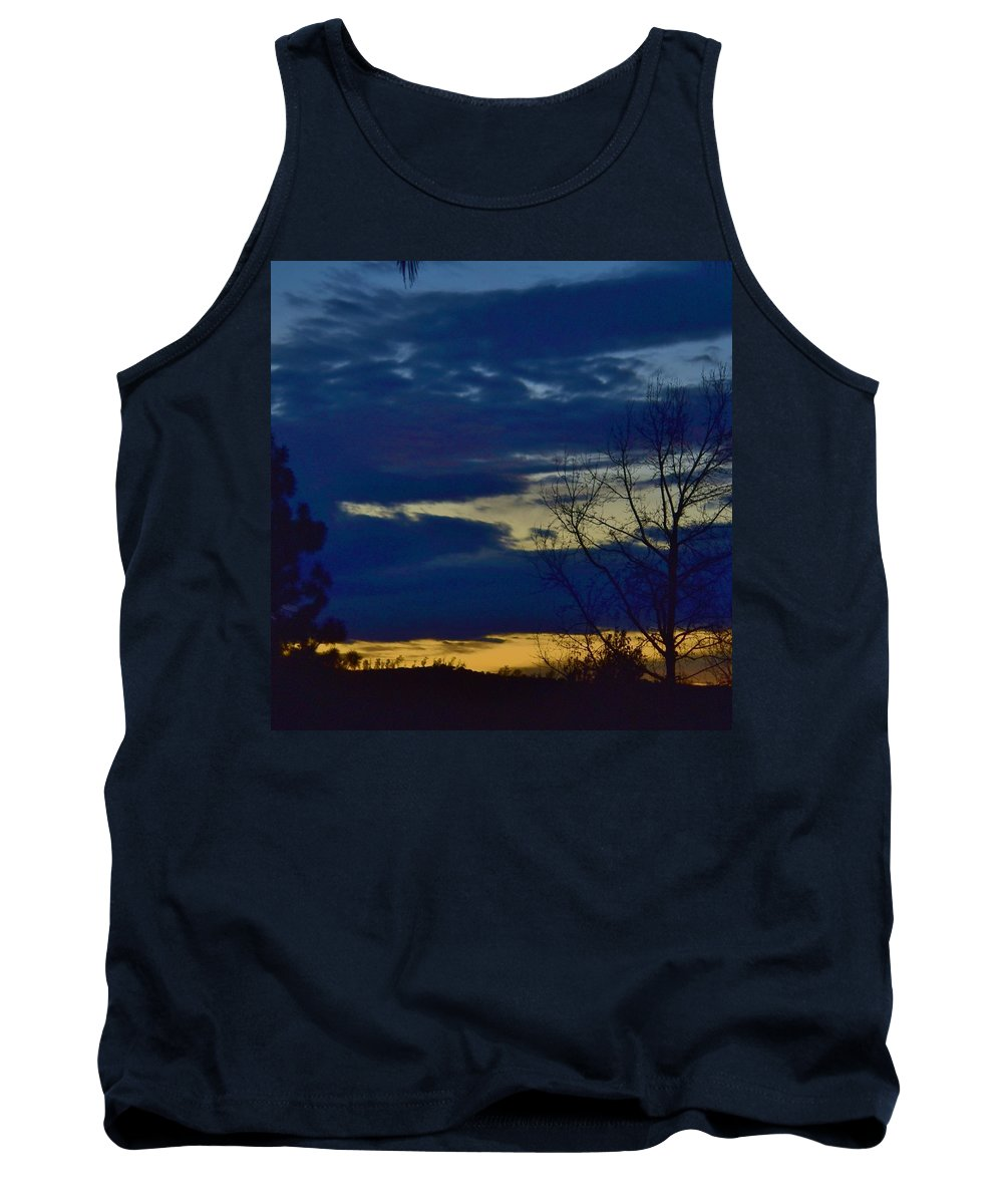 Linda Brody Tank Top featuring the photograph Golden Sunrise Into The Blue by Linda Brody