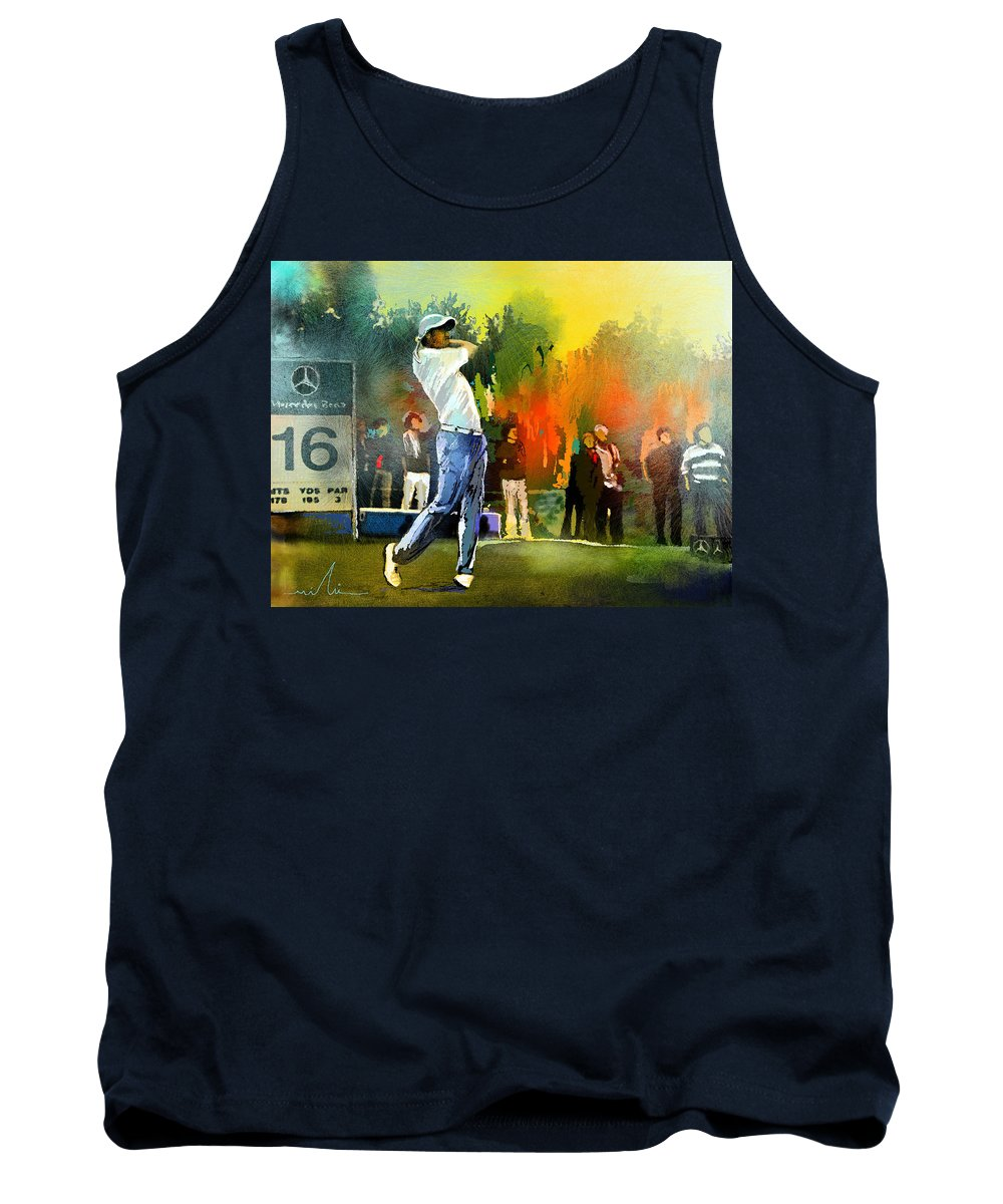 Golf Tank Top featuring the painting Golf In Gut Laerchehof Germany 01 by Miki De Goodaboom
