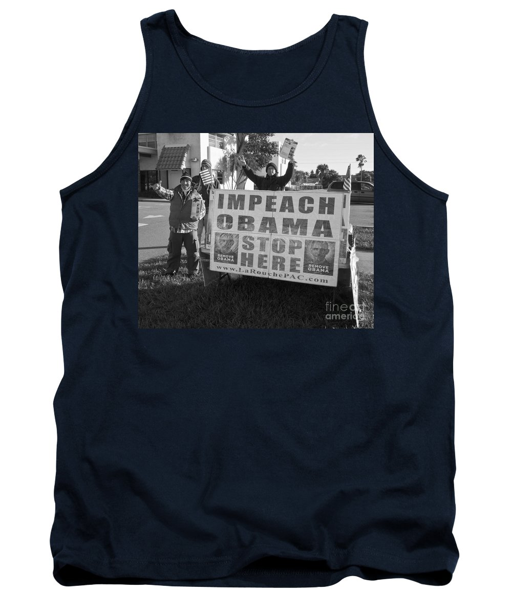 Impeach Tank Top featuring the photograph Grassroots Impeach Obama Movement by Allan Hughes