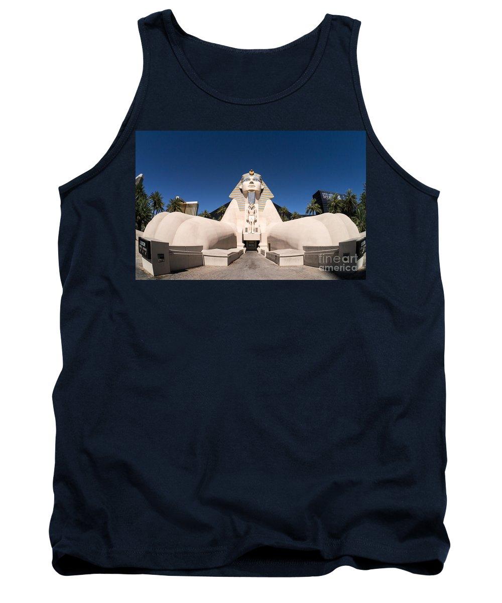 Las Vegas Nevada Trip Destination Travel Hotel Strip Tank Top featuring the photograph Great Sphinx Of Giza Luxor Resort Las Vegas by Edward Fielding