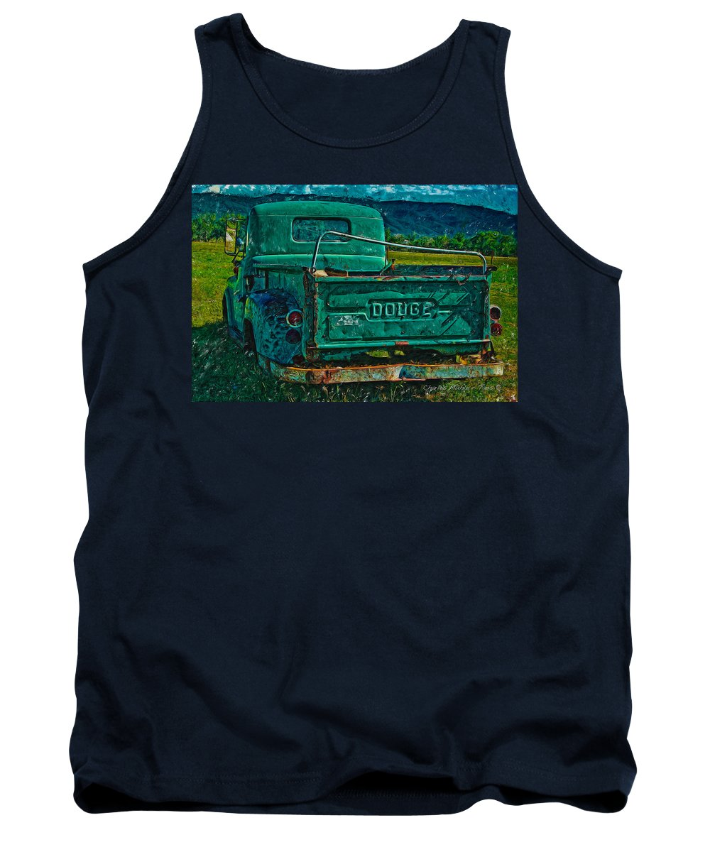 Painting Tank Top featuring the photograph Green Dodge by Charles Muhle
