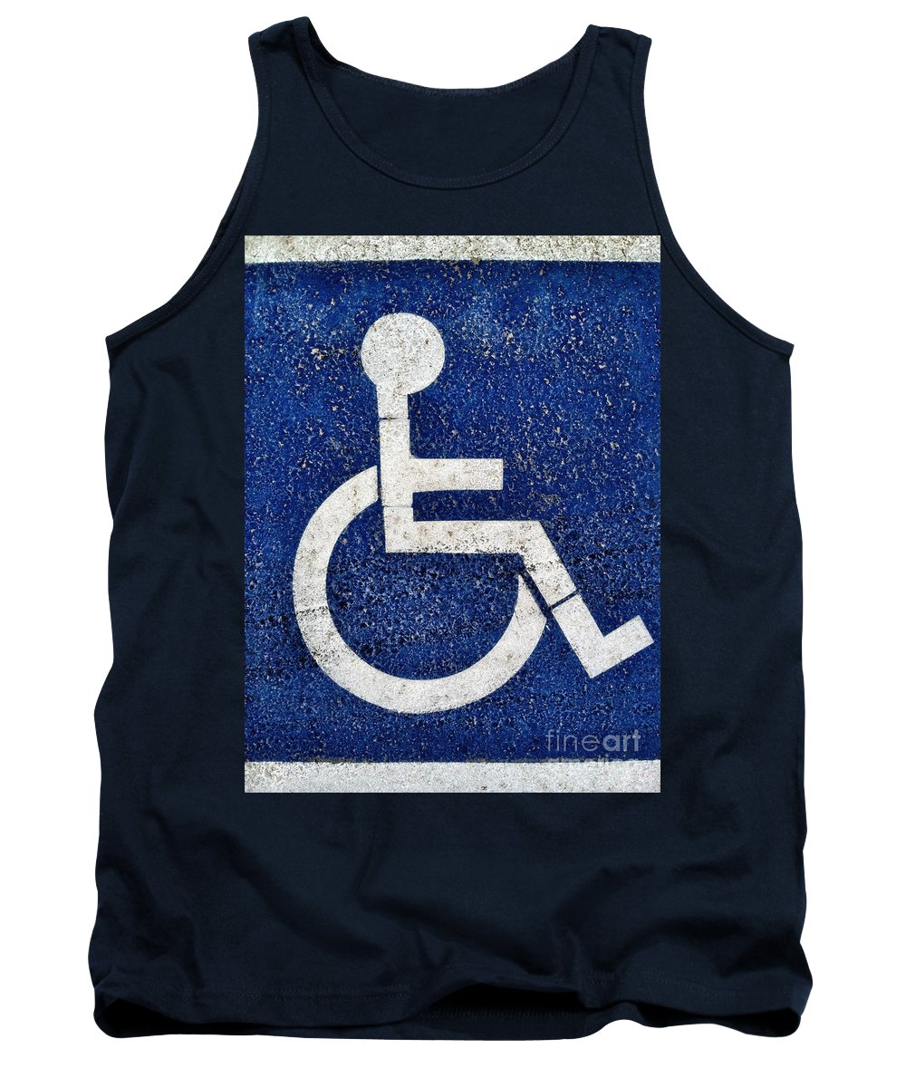 Access Tank Top featuring the photograph Handicapped Symbol by Bryan Mullennix