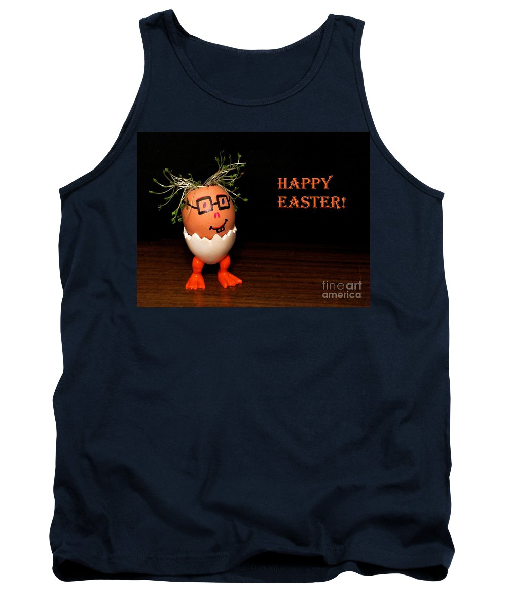 Funny Eggman Tank Top featuring the photograph Happy Easter Greeting Card. Funny Eggmen Series by Ausra Huntington nee Paulauskaite