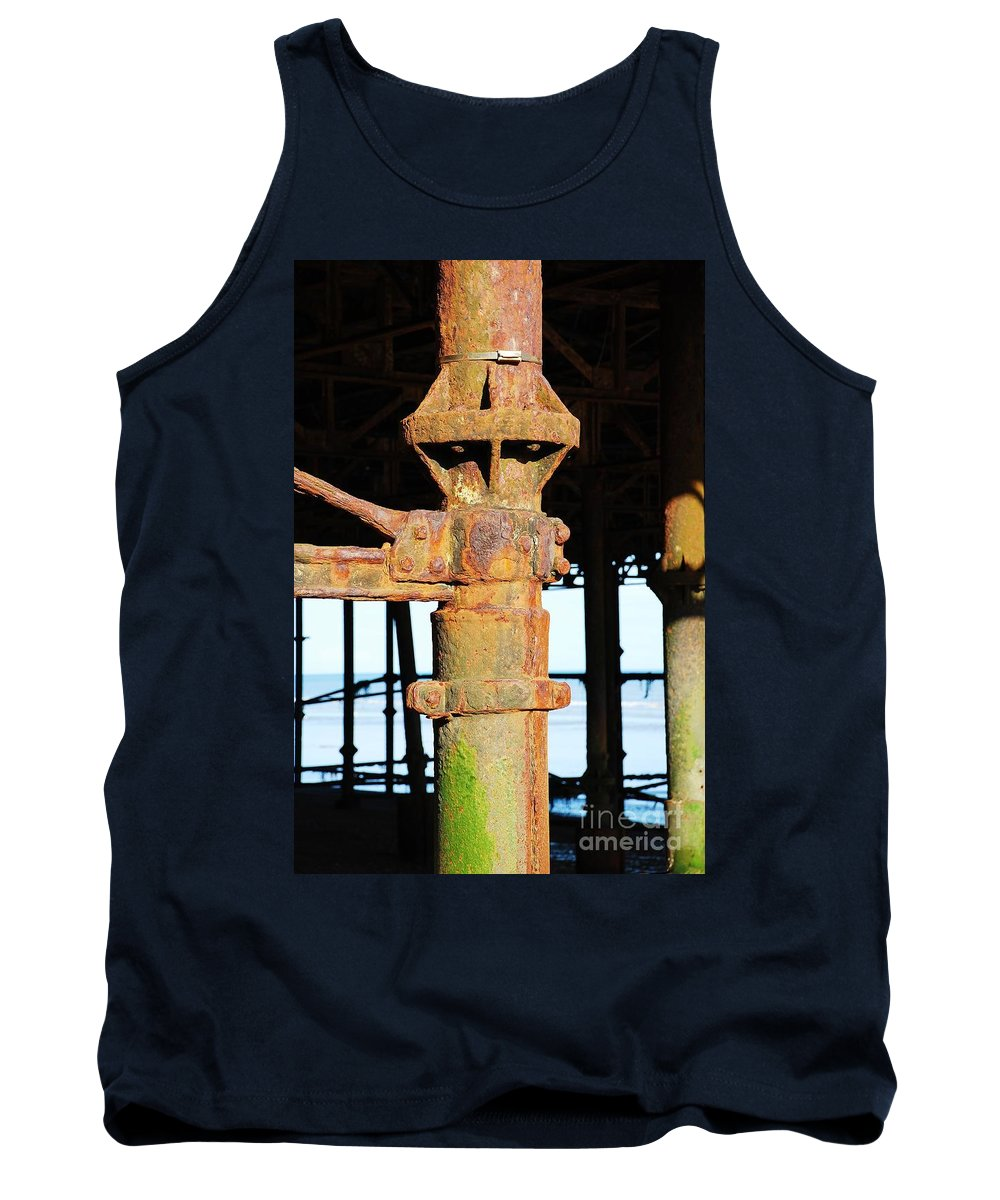 Hastings Tank Top featuring the photograph Hastings Pier Supports by David Fowler