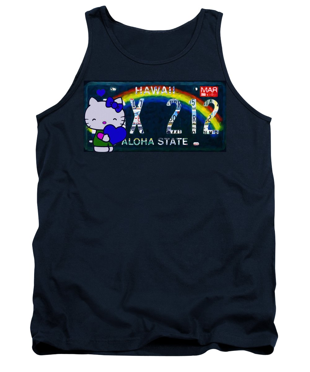 Hawaii License Plate Tank Top featuring the painting Hawaii License Plate by Jeelan Clark