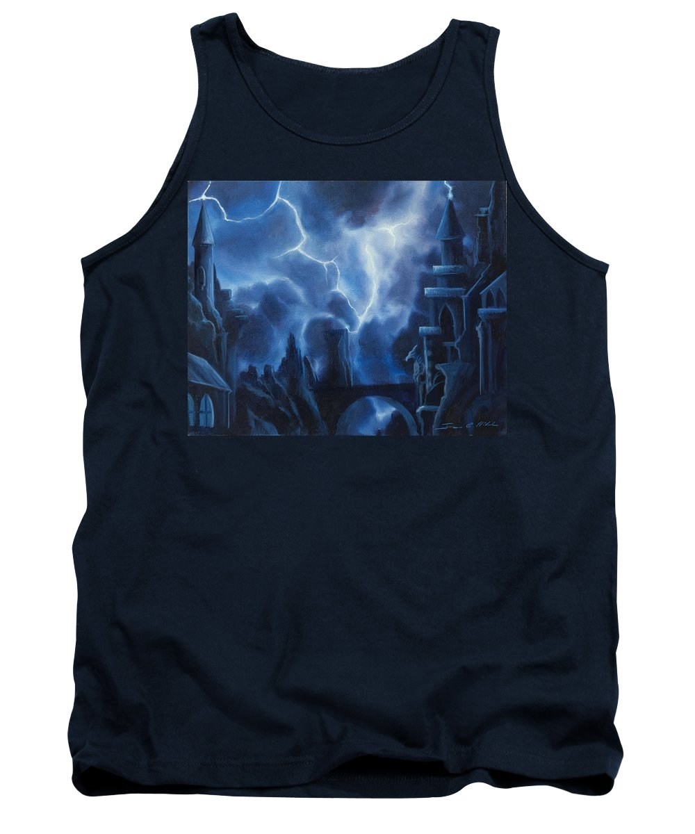 Fantasyjames Christopher Hill Tank Top featuring the painting Heisenburg's Castle by James Christopher Hill