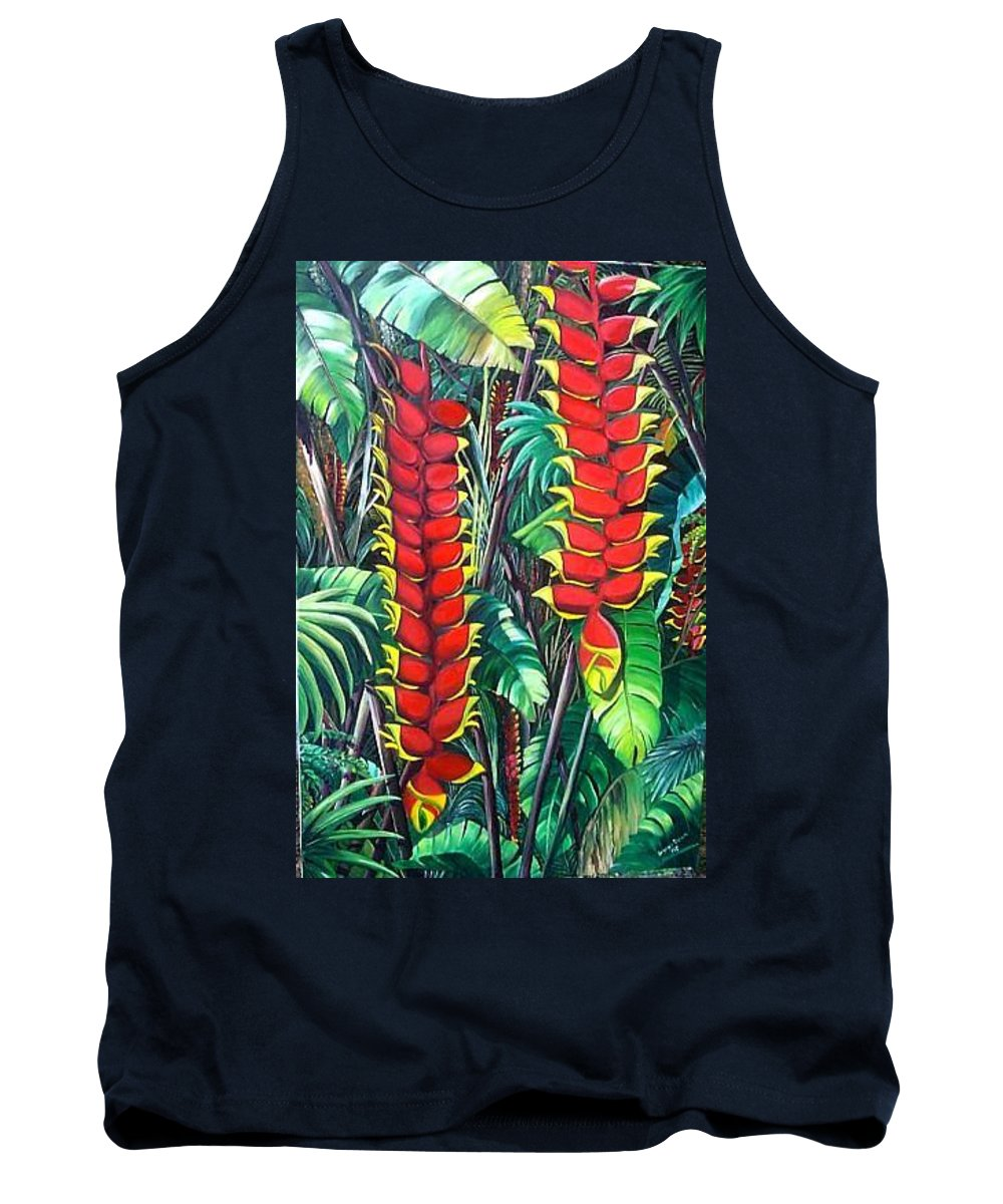 Heliconia Painting Hanging Red Heliconia Tropical Painting Tank Top featuring the painting Heliconia Rostrata by Karin Dawn Kelshall- Best