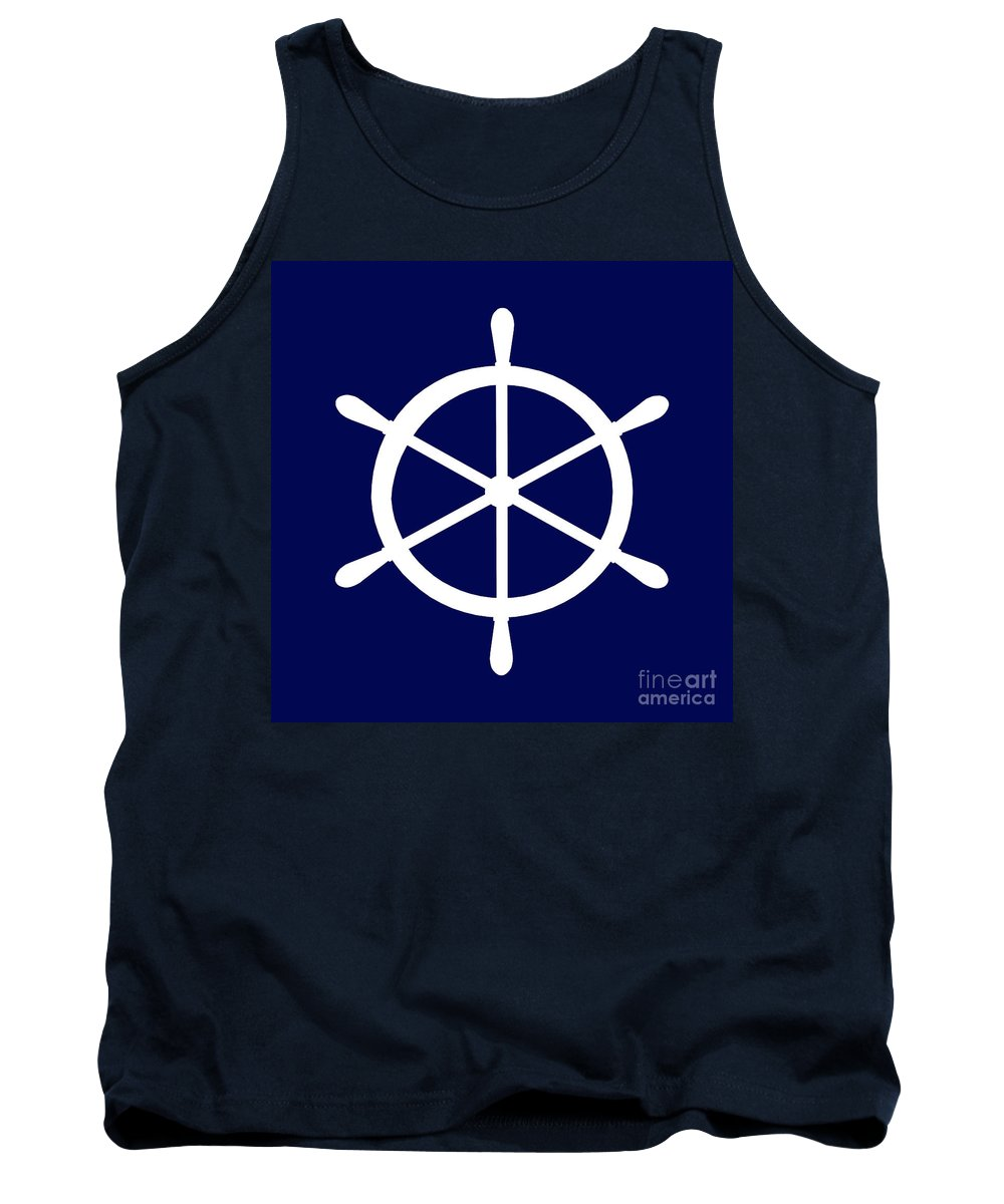 Graphic Art Tank Top featuring the photograph Helm In White And Navy Blue by Jackie Farnsworth