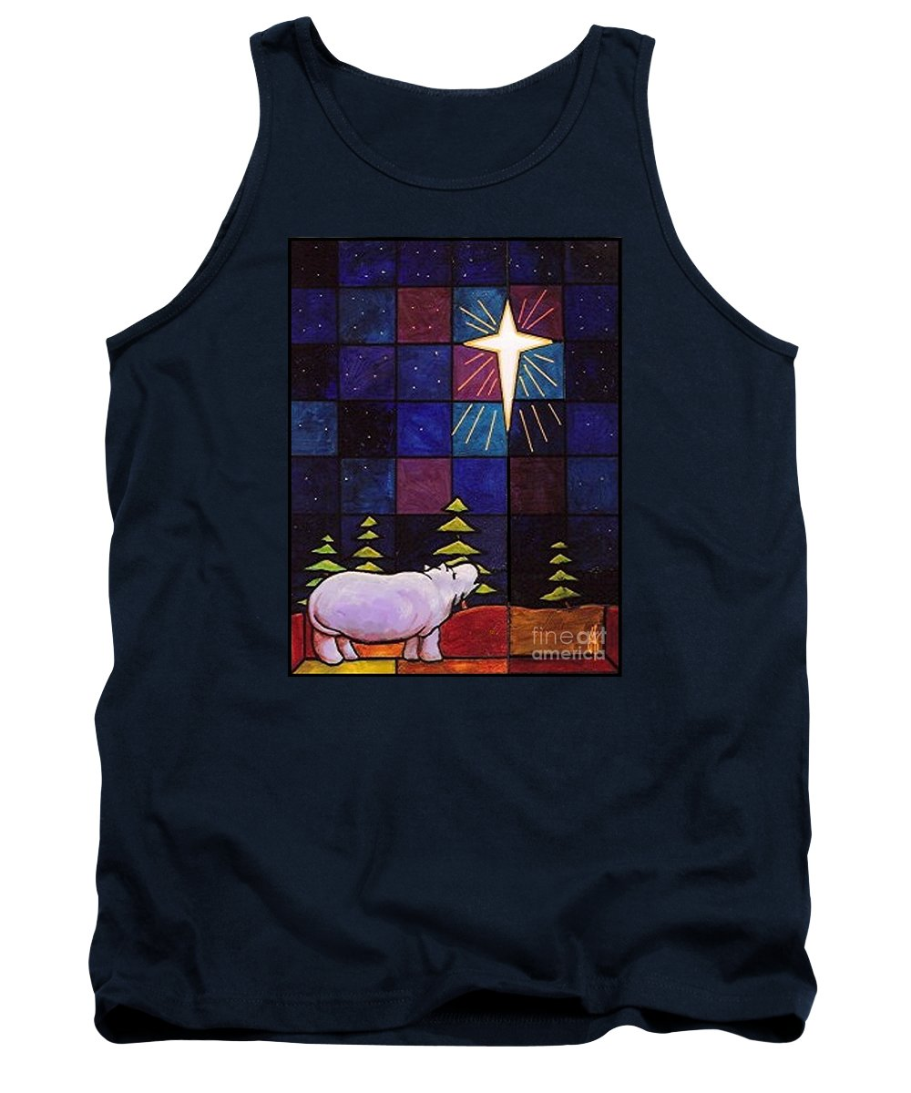 Christmas Tank Top featuring the painting Hippo Awe And Wonder by Jim Harris