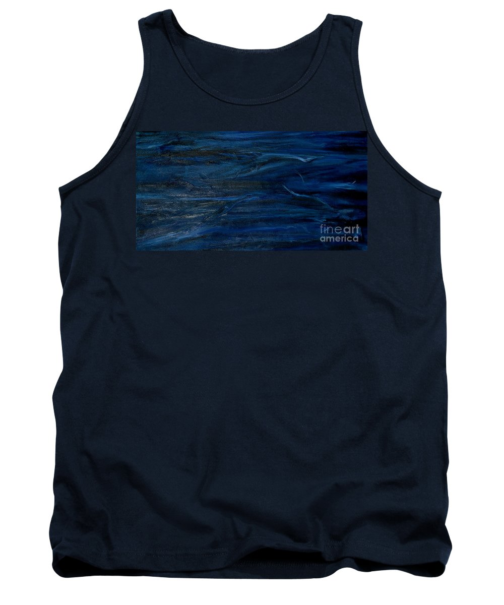 Abstract Tank Top featuring the painting Immense Blue by Silvana Abel