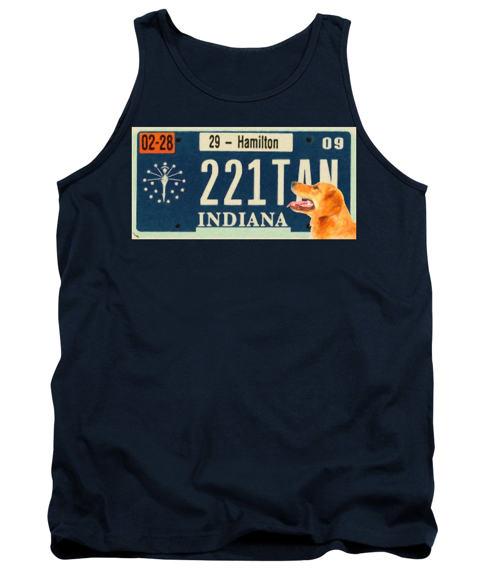 Indiana License Plate Tank Top featuring the painting Indiana License Plate by Jeelan Clark