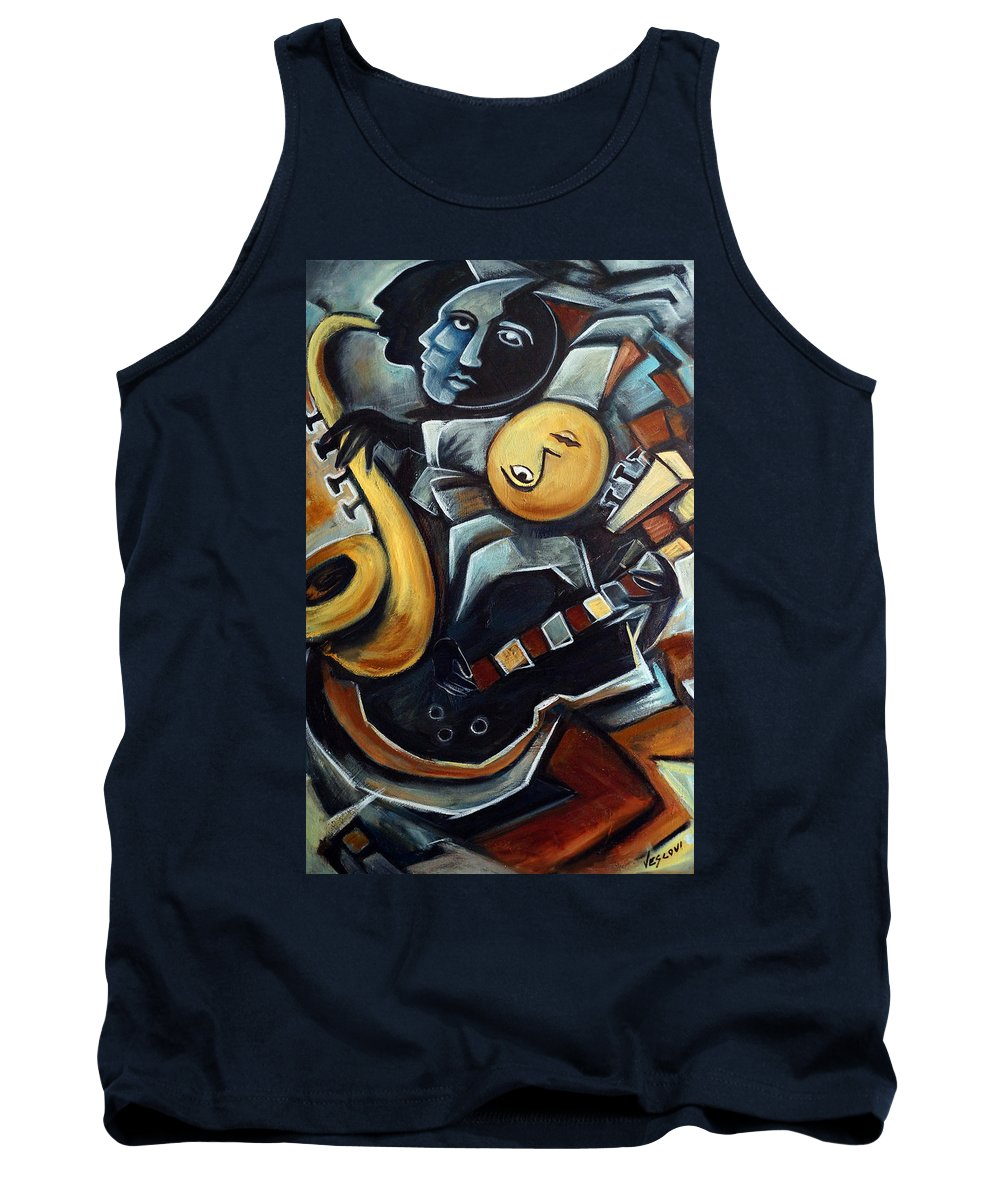 Cubism Tank Top featuring the painting Indigo Blues by Valerie Vescovi