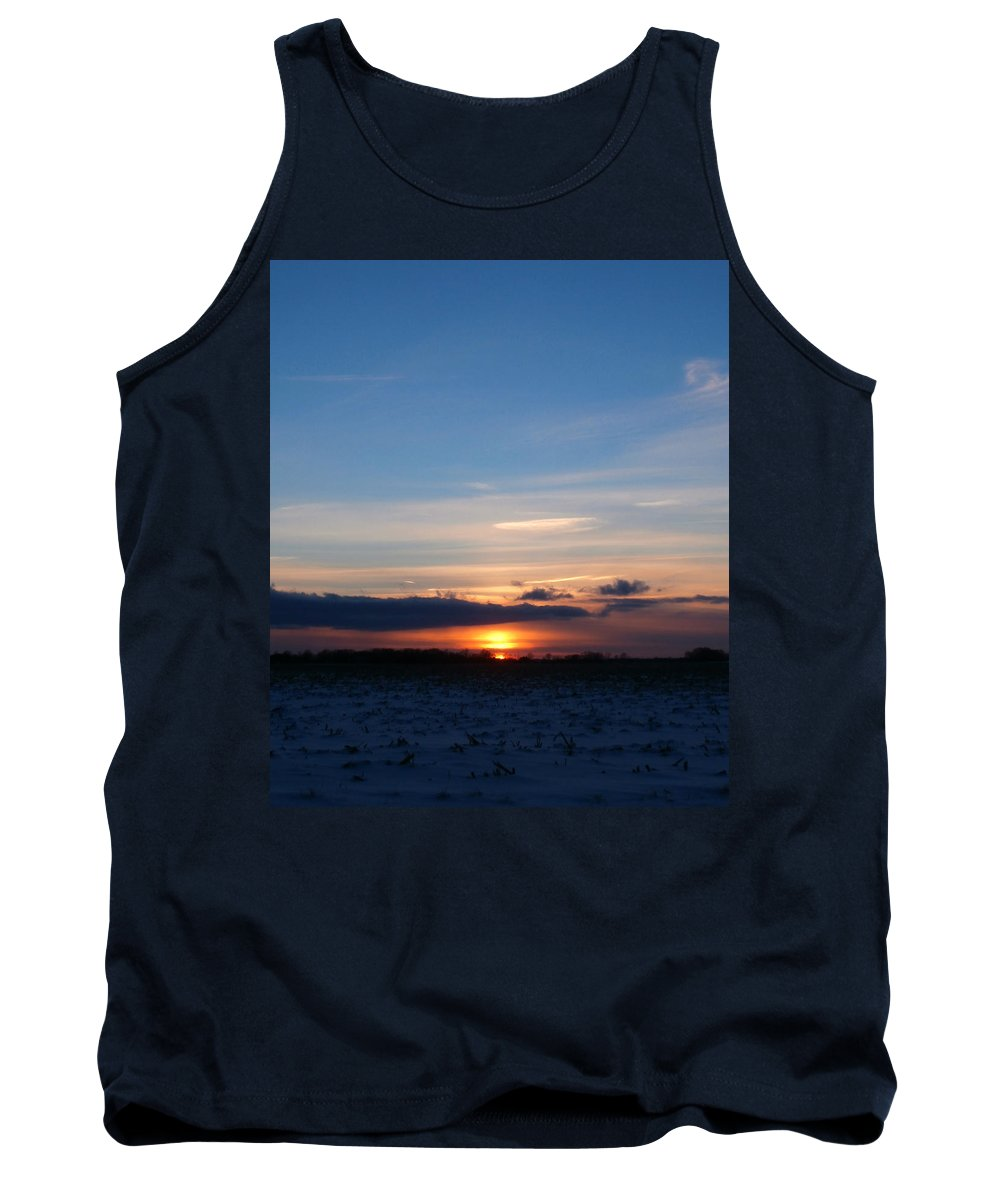 Indiana Tank Top featuring the photograph January Sunset 2 by Dan McCafferty