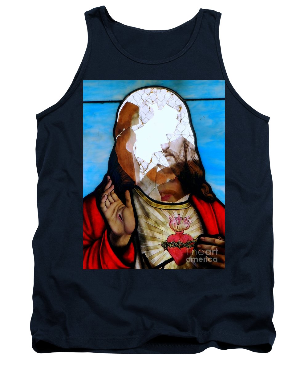Stained Glass Tank Top featuring the photograph Jesus Abstract by Ed Weidman