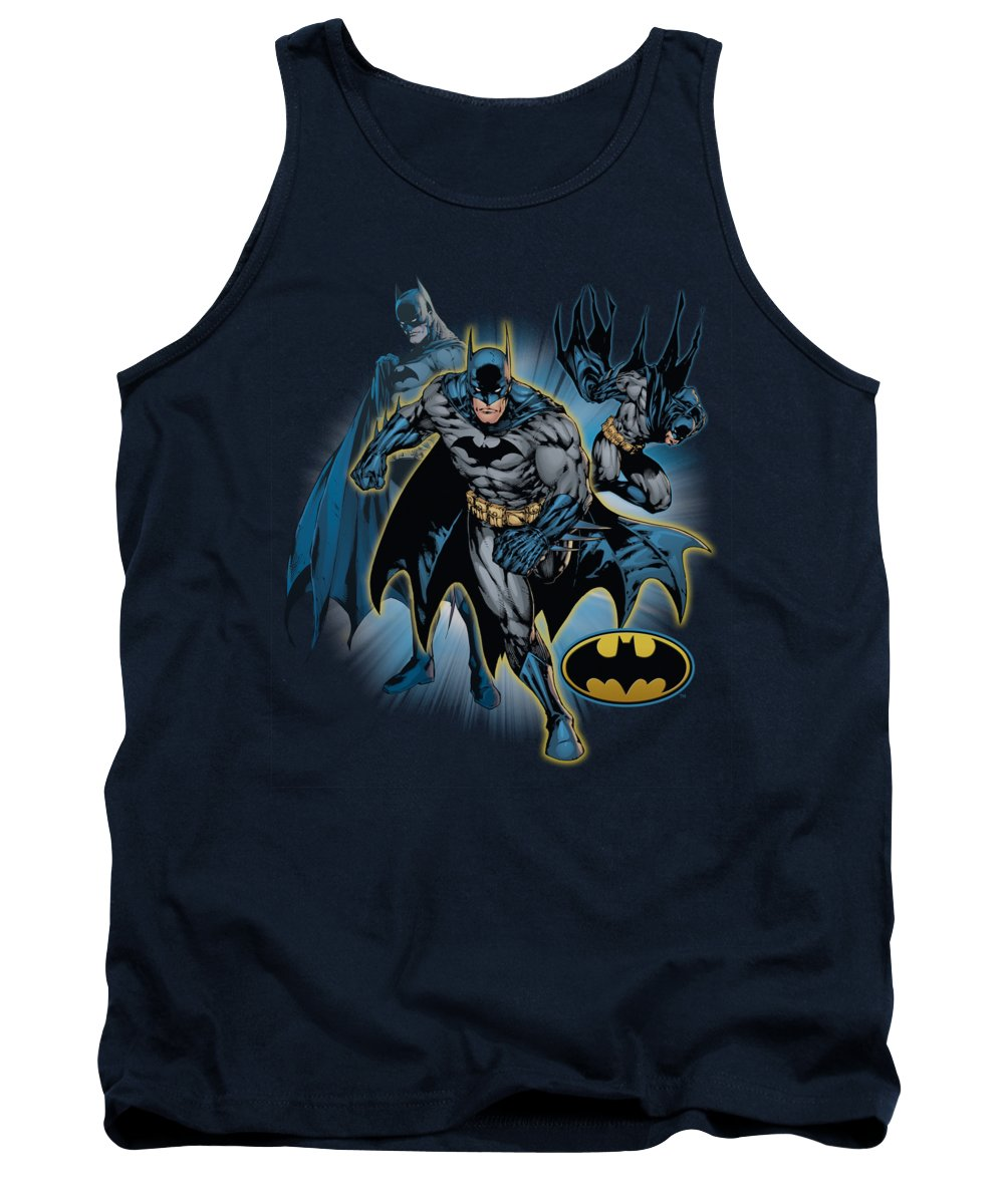 Justice League Of America Tank Top featuring the digital art Jla - Batman Collage by Brand A