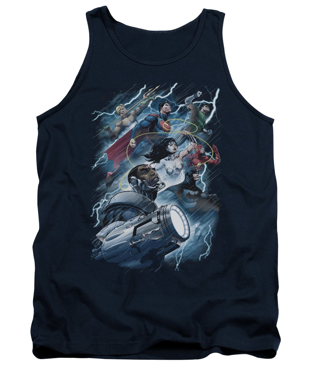 Justice League Of America Tank Top featuring the digital art Jla - Ride The Lightening by Brand A