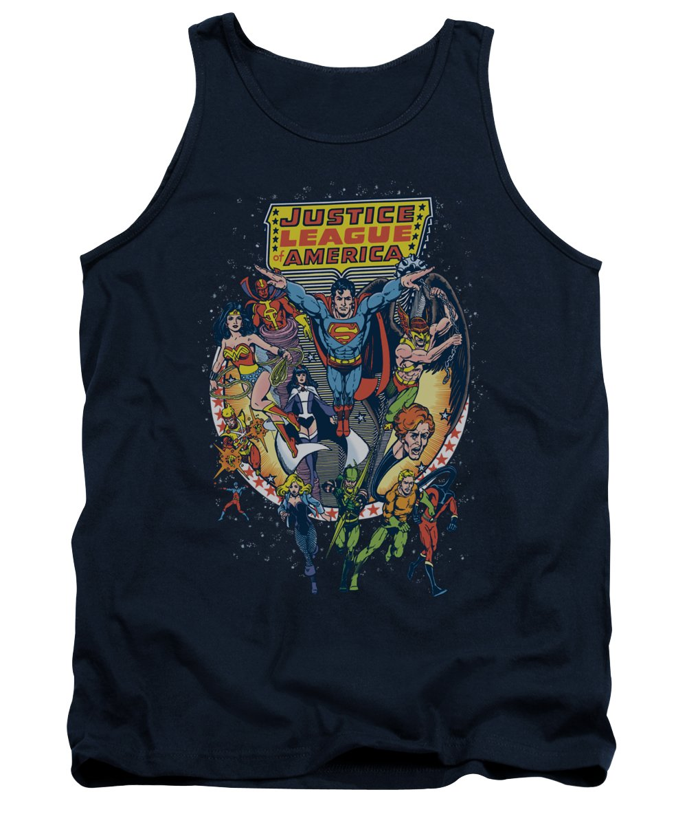 Justice League Of America Tank Top featuring the digital art Jla - Star Group by Brand A