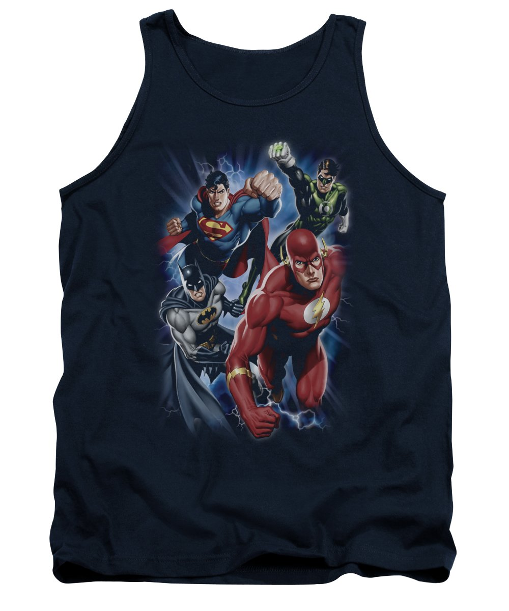 Justice League Of America Tank Top featuring the digital art Jla - Storm Chasers by Brand A