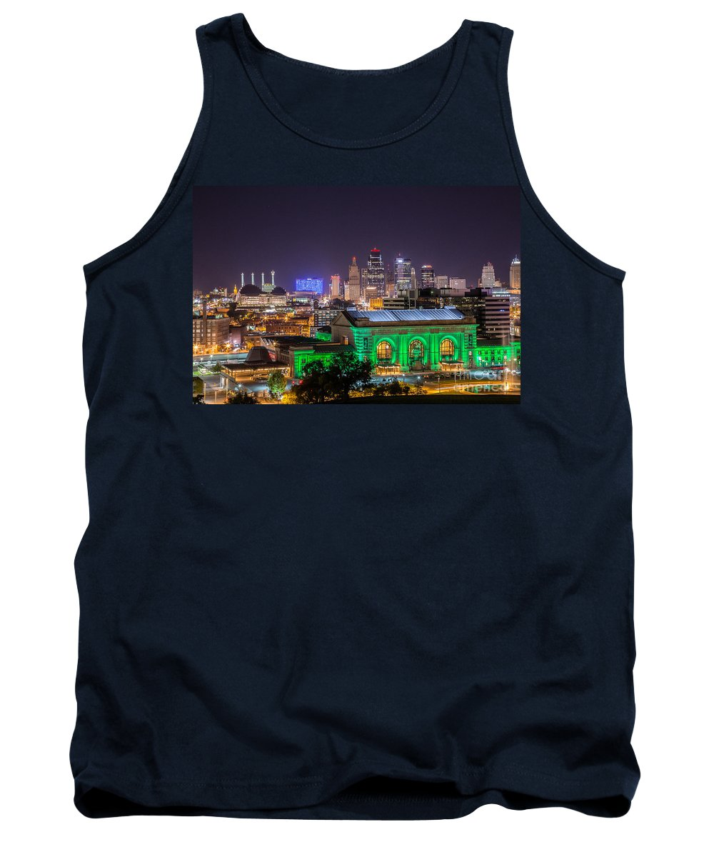 Downtown Kc Tank Top featuring the photograph Kansas City In Lights by Terri Morris