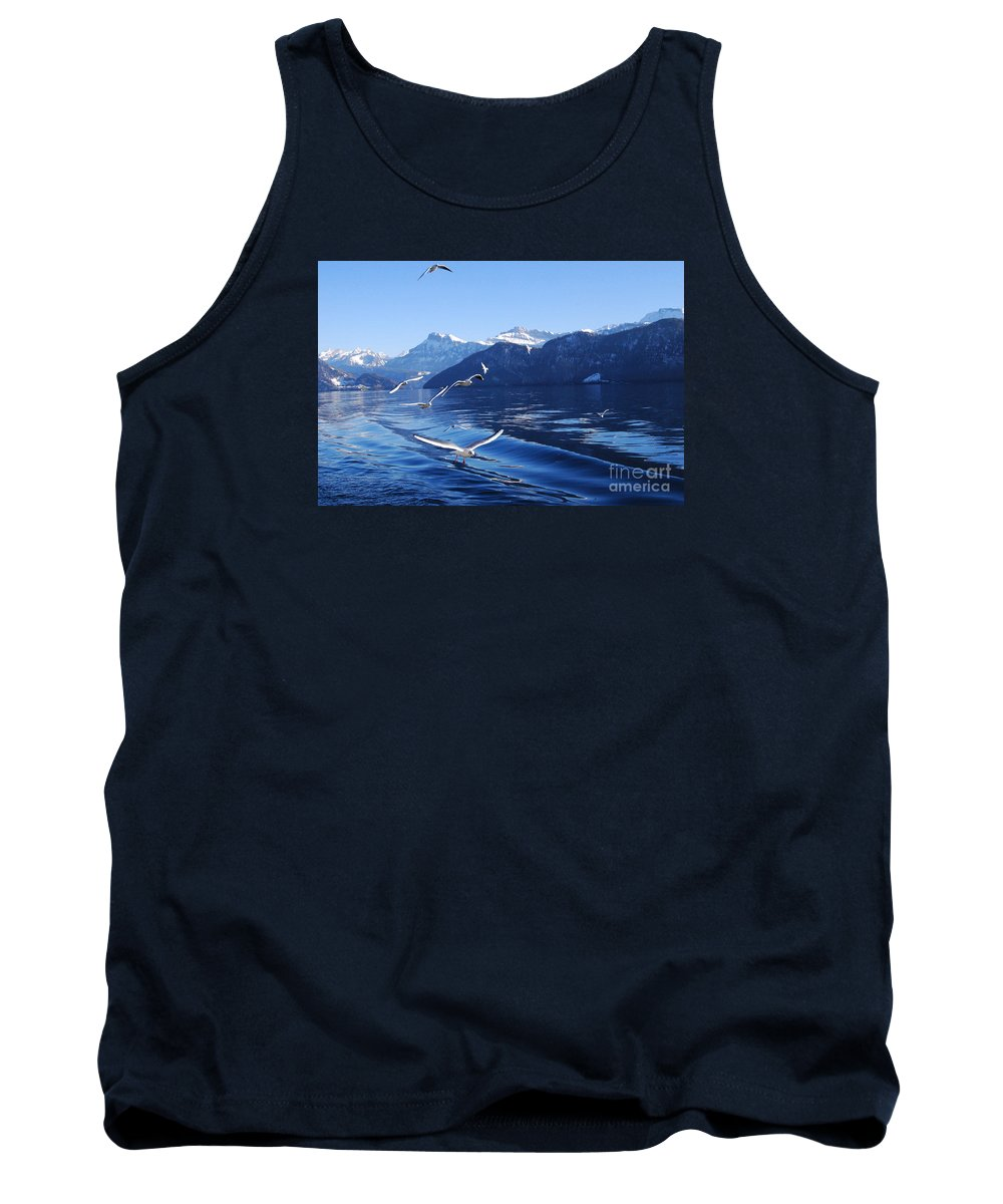 Seagulls Tank Top featuring the photograph Lake Lucerne Seagulls by Rowan Russell