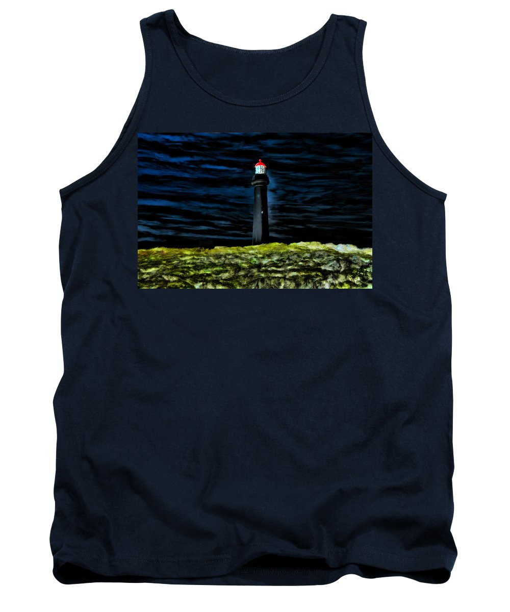 Lighthouse Tank Top featuring the painting Lighthouse In The Night by Bruce Nutting