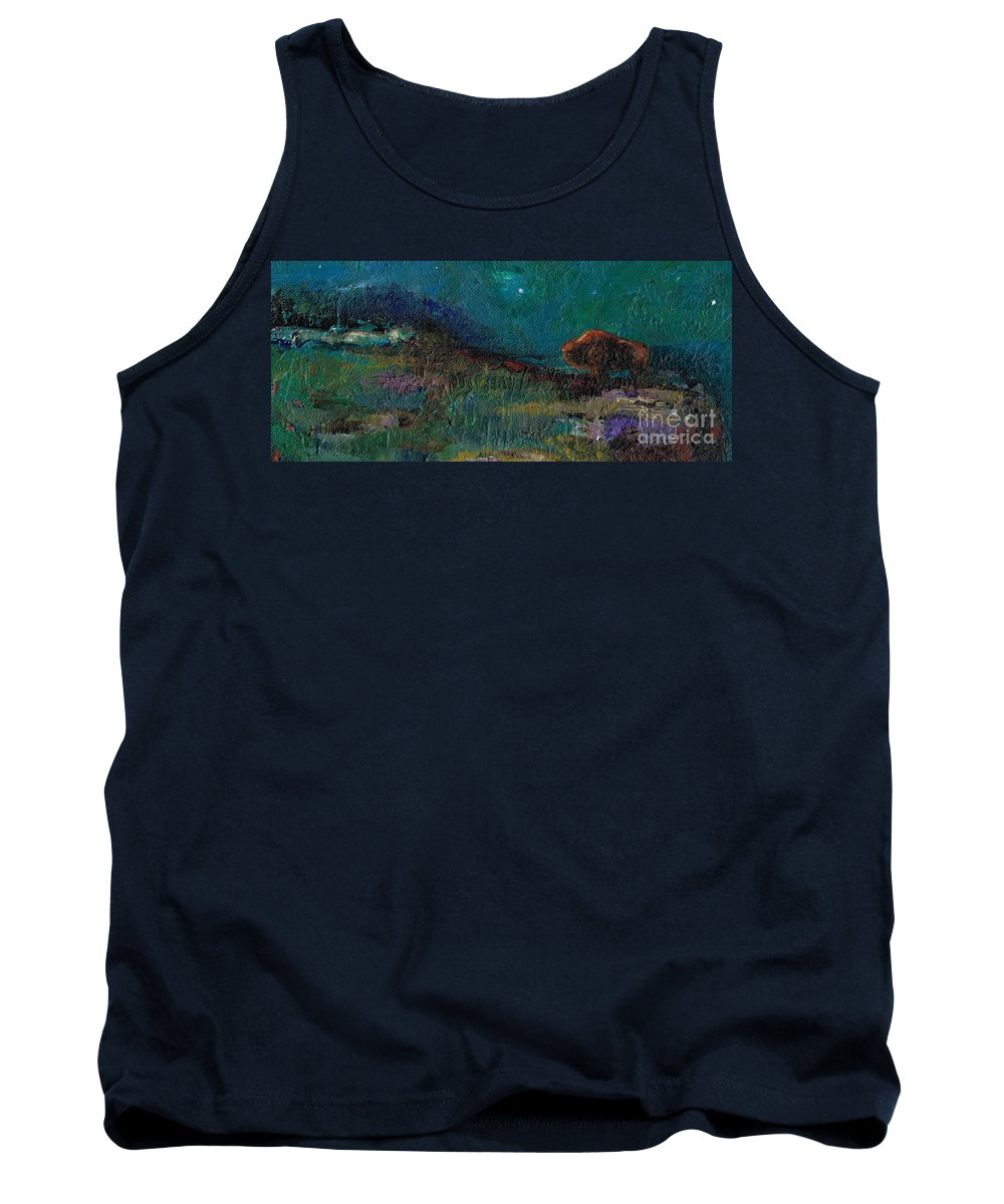 Buffalo Tank Top featuring the painting Living On The Edge by Frances Marino