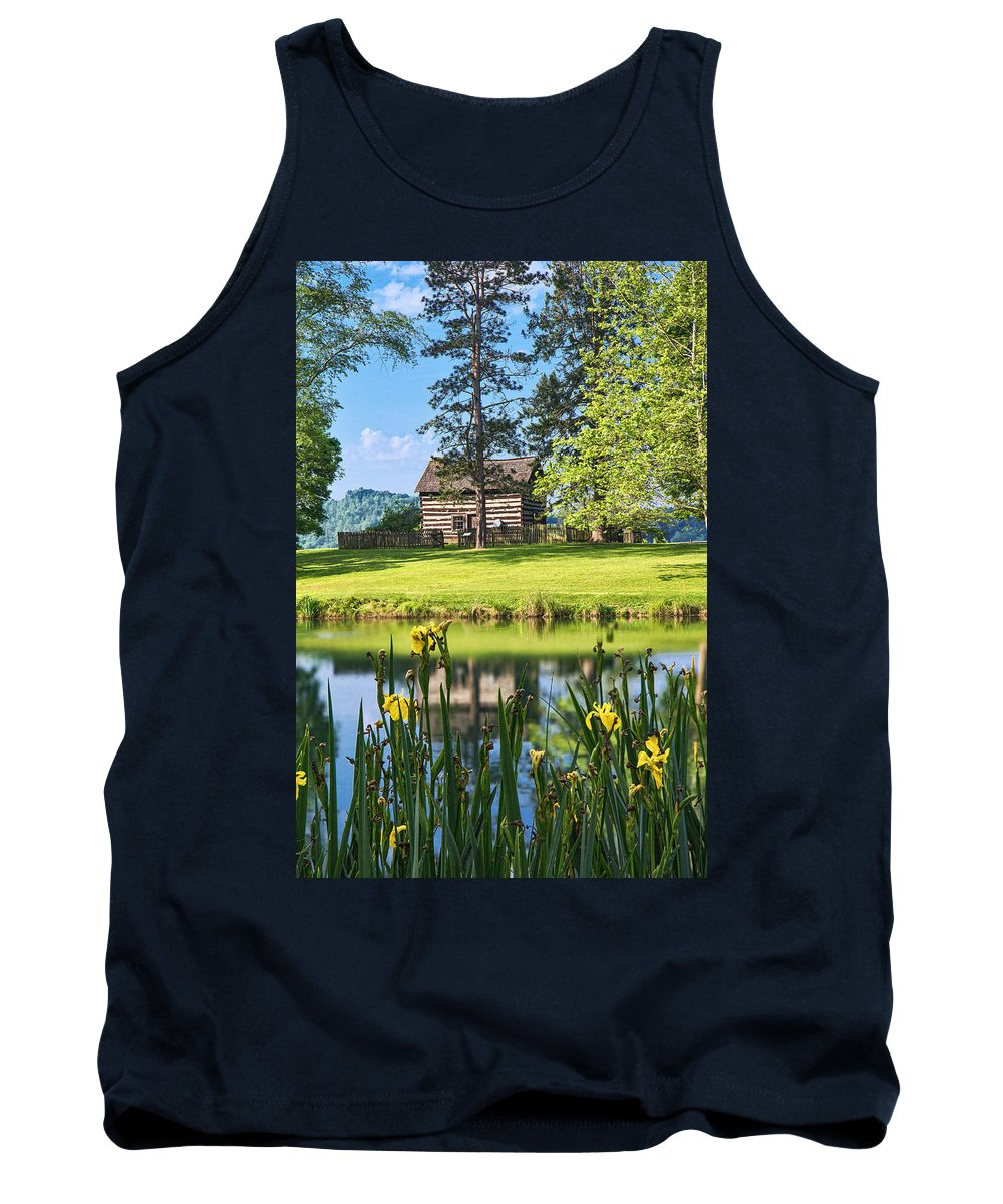 Jackson's Mill Tank Top featuring the photograph Log Cabin Reflections by Mary Almond