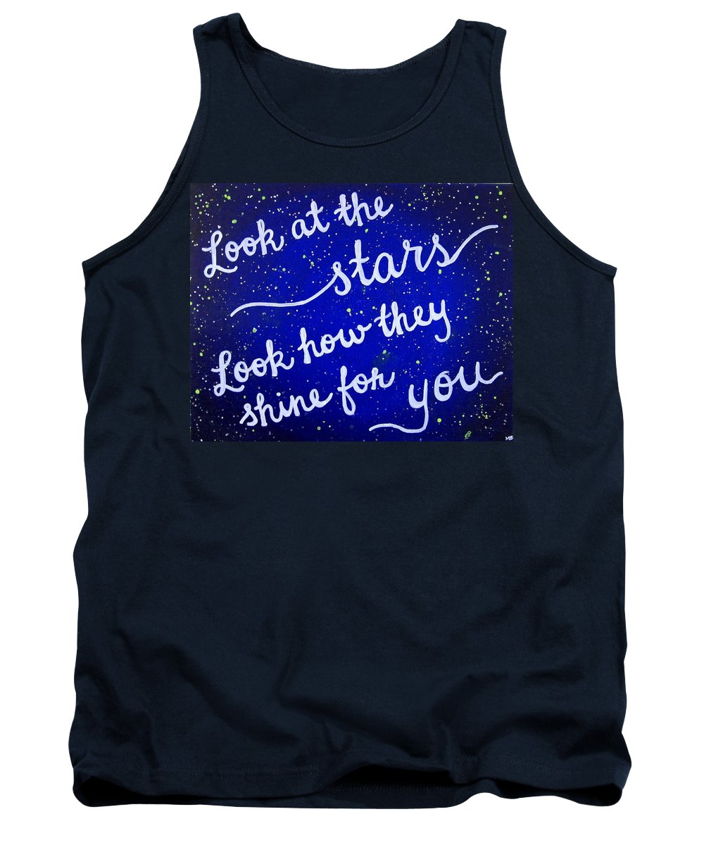 Look At The Stars Tank Top featuring the painting Look At The Stars Quote Painting by Michelle Eshleman