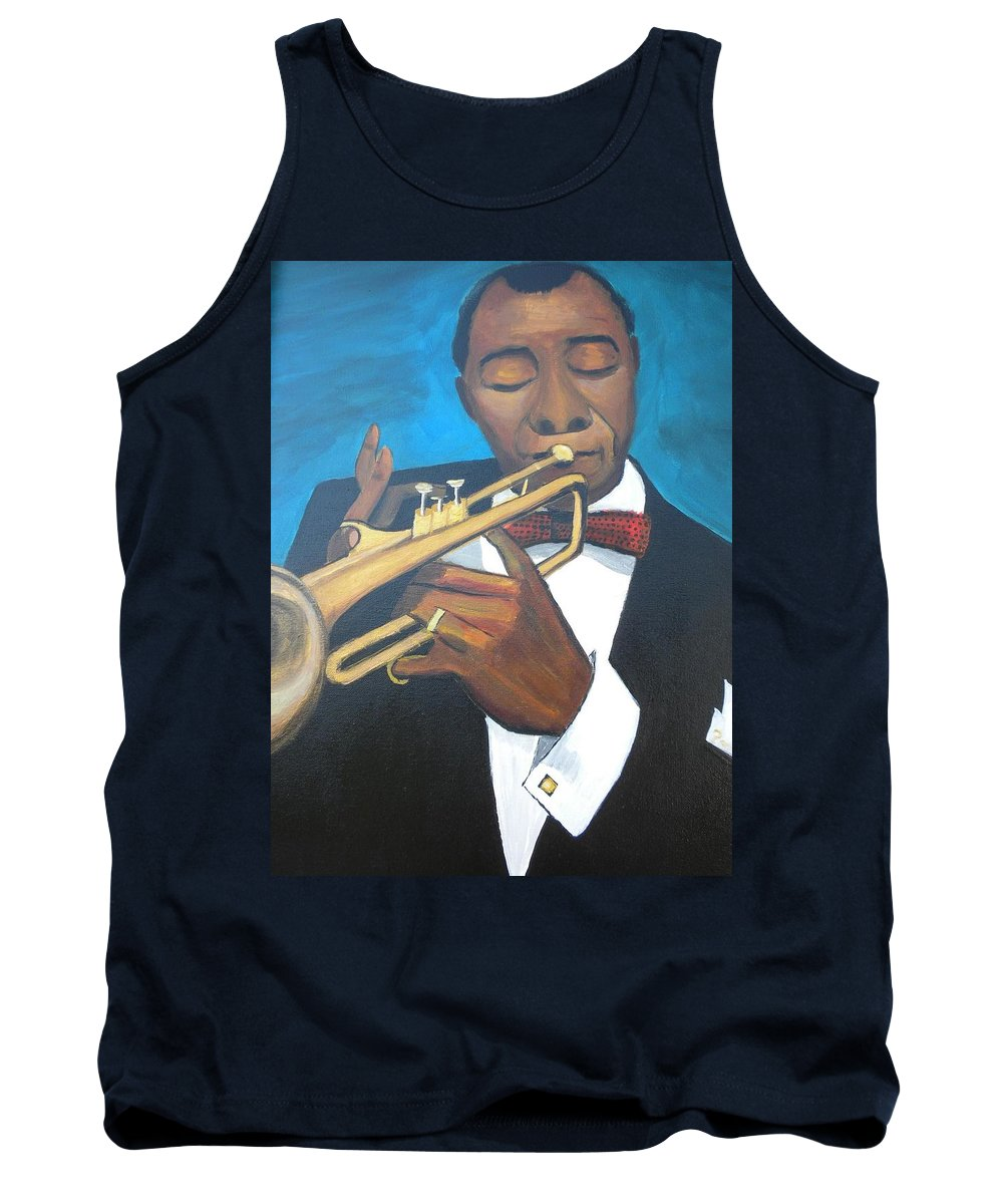 Louis Armstrong Portrait Tank Top featuring the painting Louis Armstrong by Don Parker