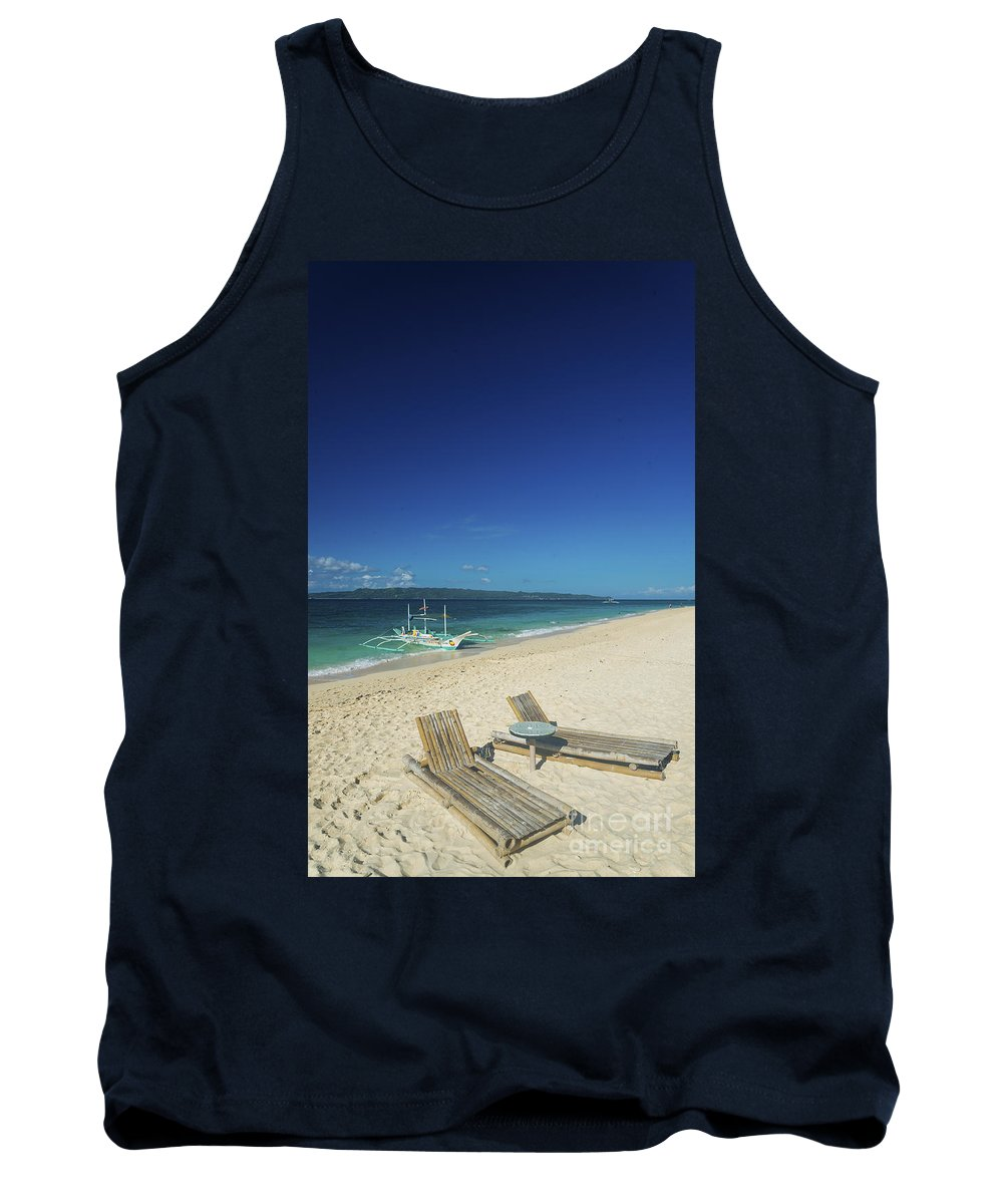 Asia Tank Top featuring the photograph Lounge Chairs And Traditional Boat On Puka Beach In Boracay Phil by Jacek Malipan