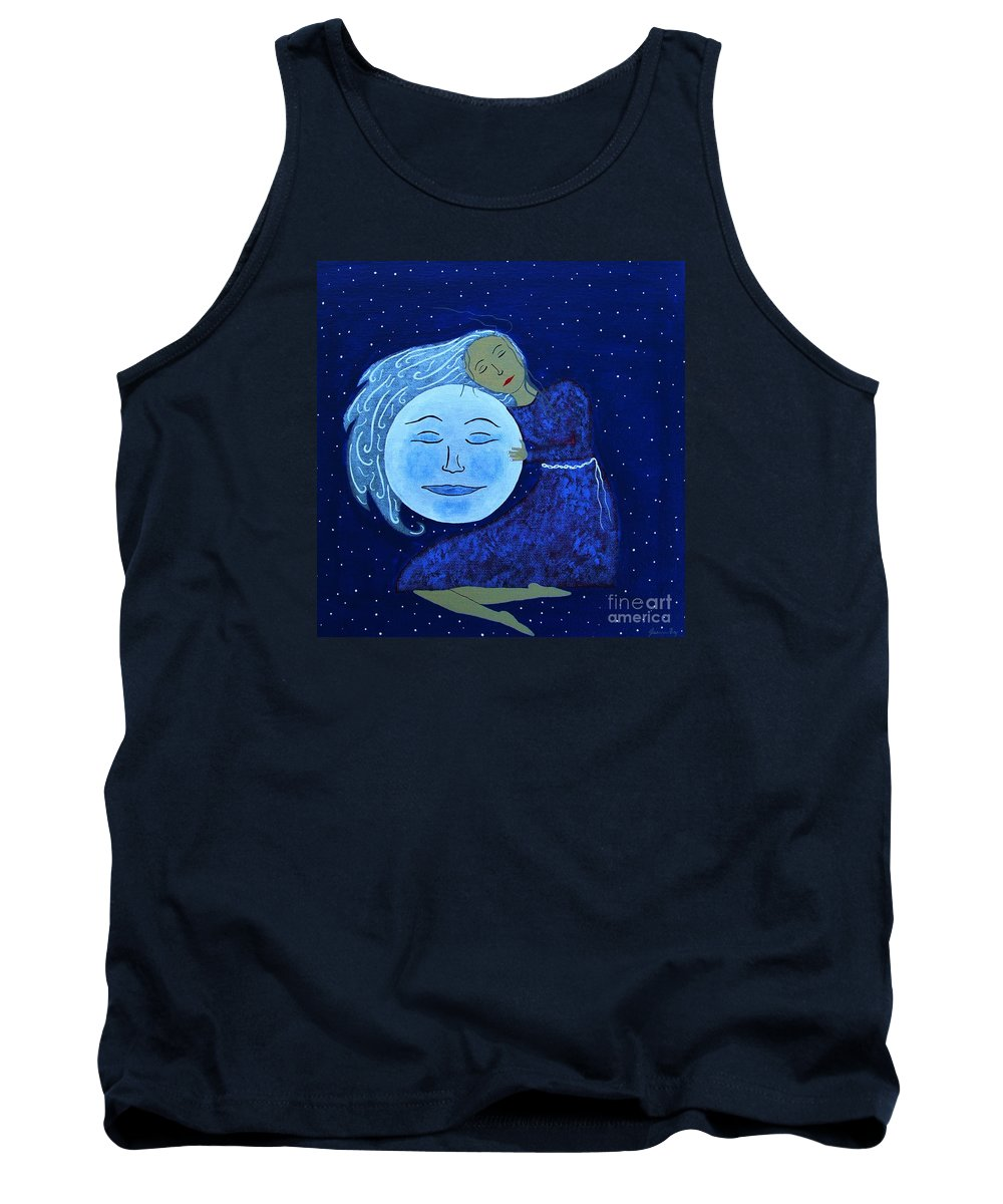 Moon Face Tank Top featuring the painting Luna's Heart by Jean Fry