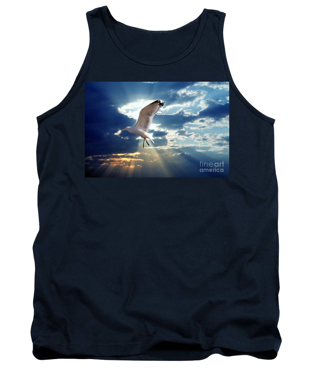 Arms Tank Top featuring the photograph Majestic Bird Against Sunset Sky by Michal Bednarek