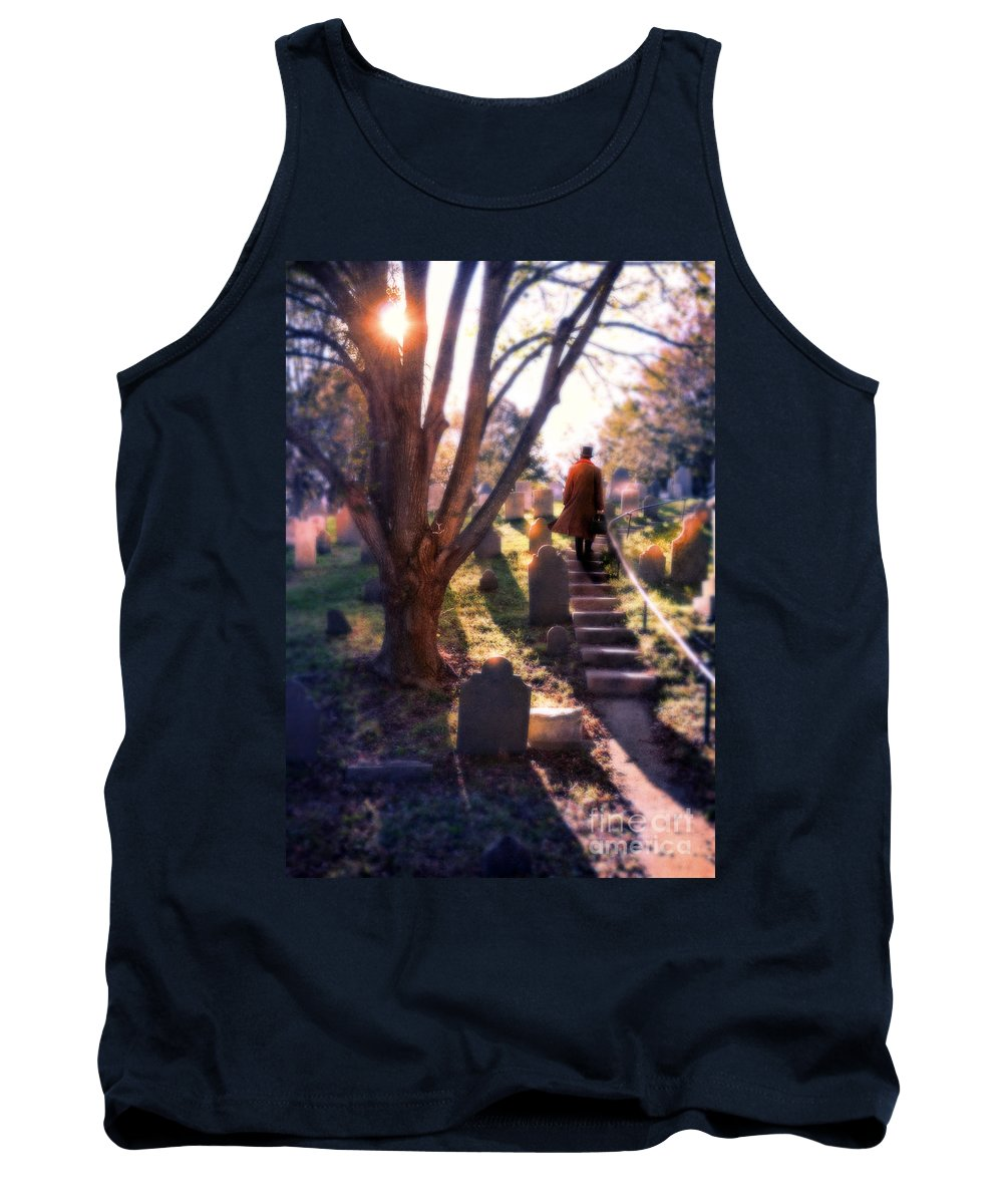 Young Tank Top featuring the photograph Man On Cemetery Steps by Jill Battaglia