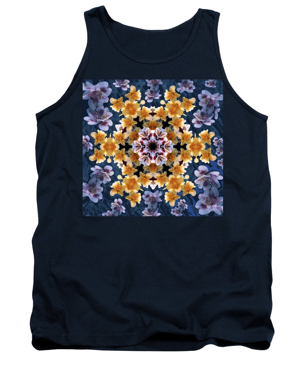 Mandala Tank Top featuring the digital art Mandala Alstro by Nancy Griswold