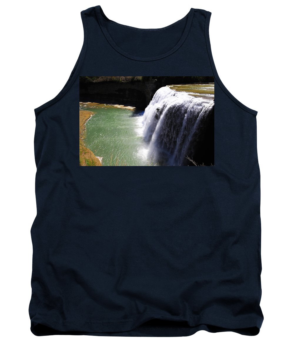 Up Tank Top featuring the painting Middle Waterfalls In Letchworth State Park II by Paul Ge