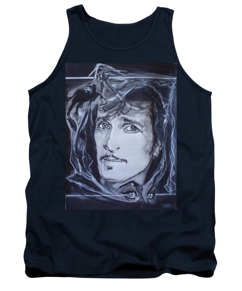 Charcoal;mink Deville;new York City;gina Lollabrigida Eyes ;cat Eyes;bullfight;toreador;swords;death;smoke;blues Tank Top featuring the drawing Willy Deville - Coup De Grace by Sean Connolly