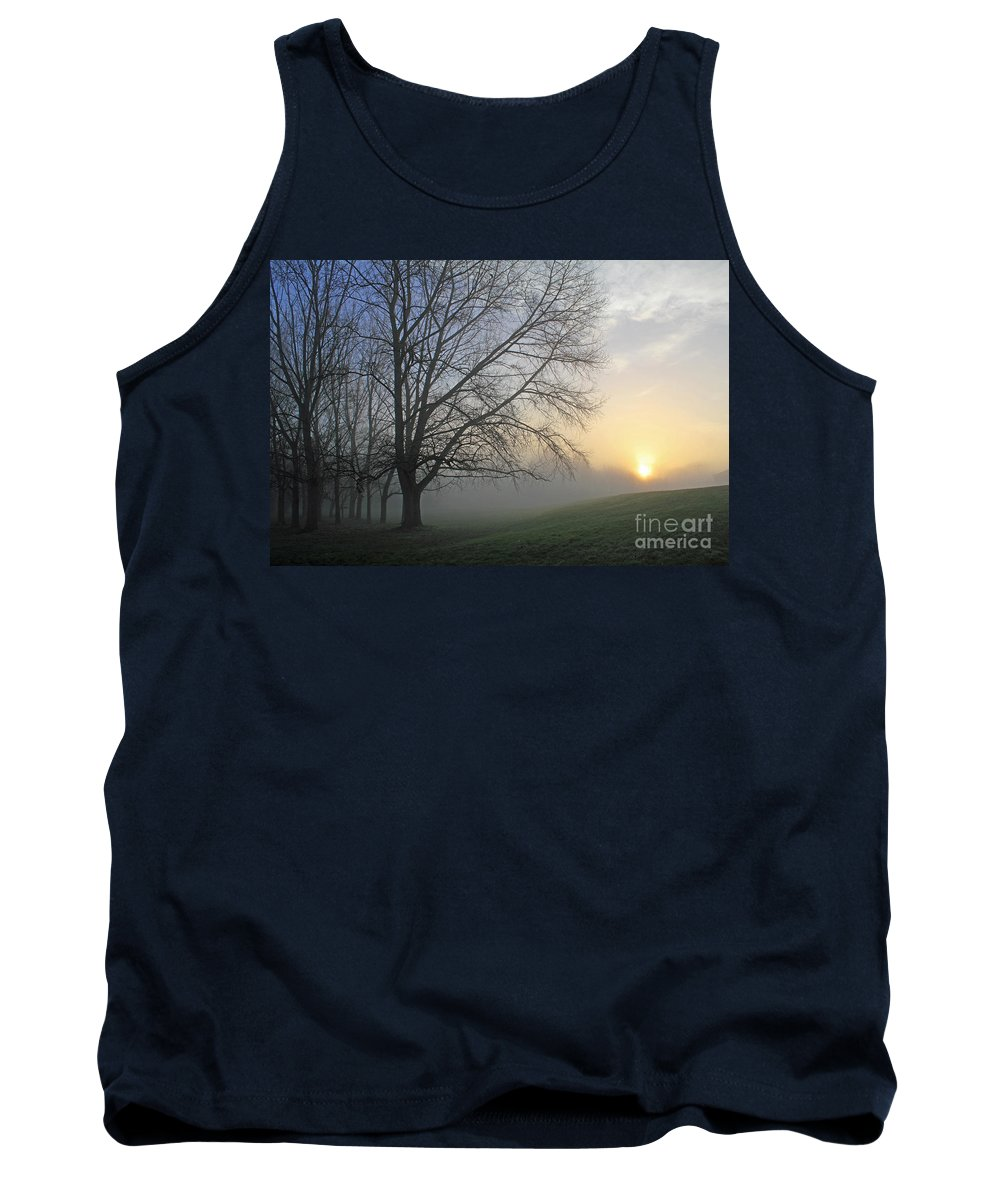 British English Countryside Landscape Tank Top featuring the photograph Misty Dawn by Julia Gavin