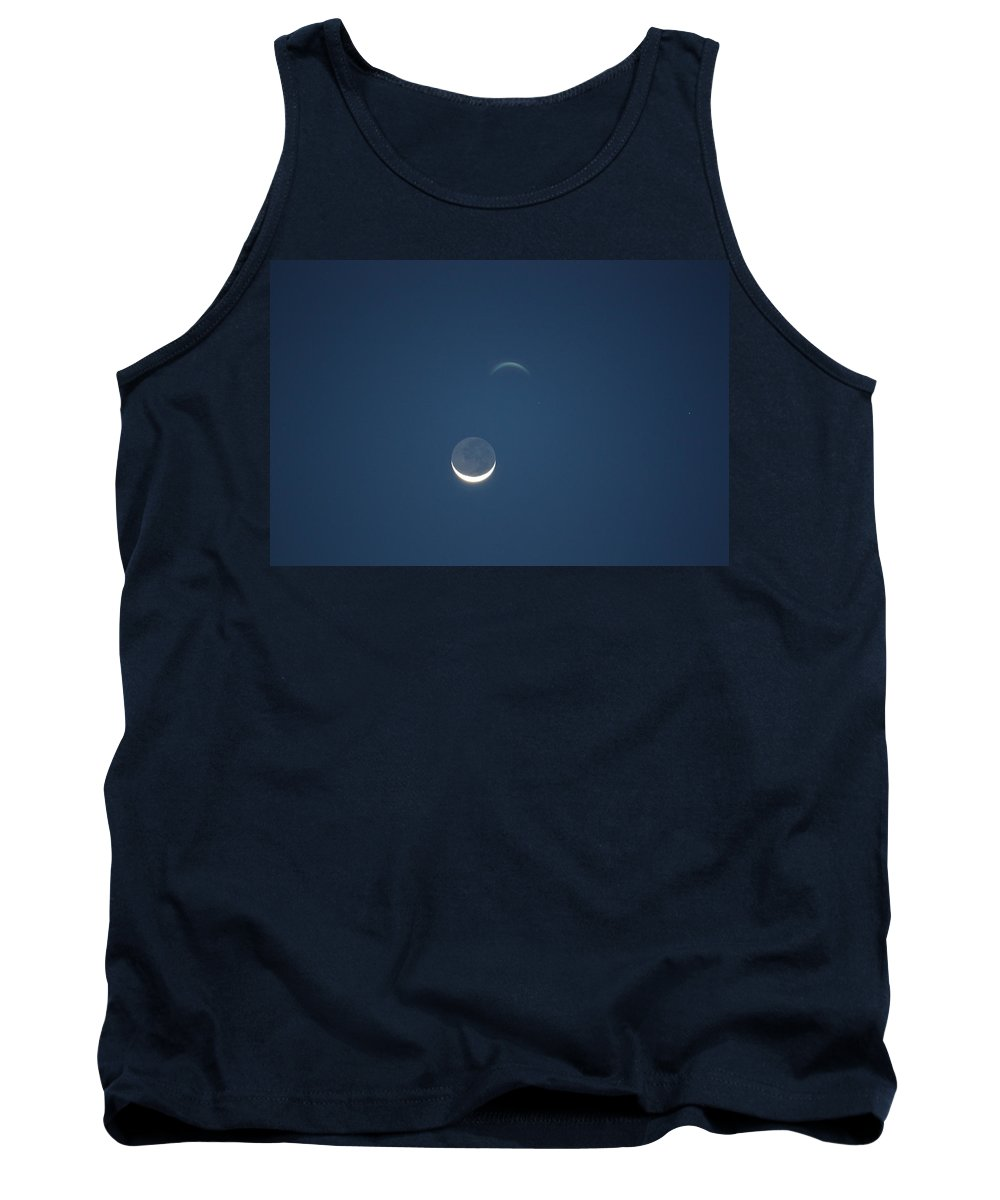 Moon Tank Top featuring the photograph Moon In Blue by Jason Huffman