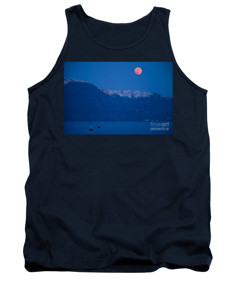Santorini Tank Top featuring the photograph Moon Over Santorini by Brian Jannsen