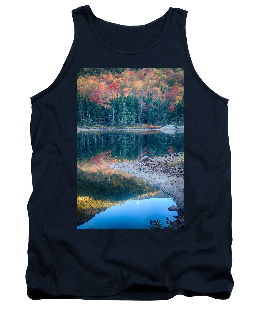 Autumn Tank Top featuring the photograph Moon Setting Fall Foliage Reflection by Jeff Folger
